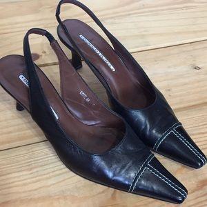 Donald Pliner Black Leather Slingback Heels